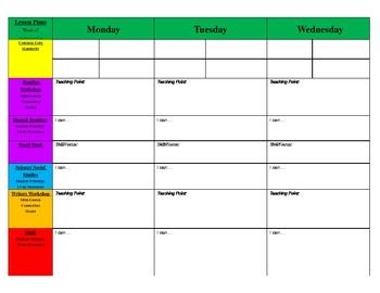 common core lesson plans printable lesson plan template